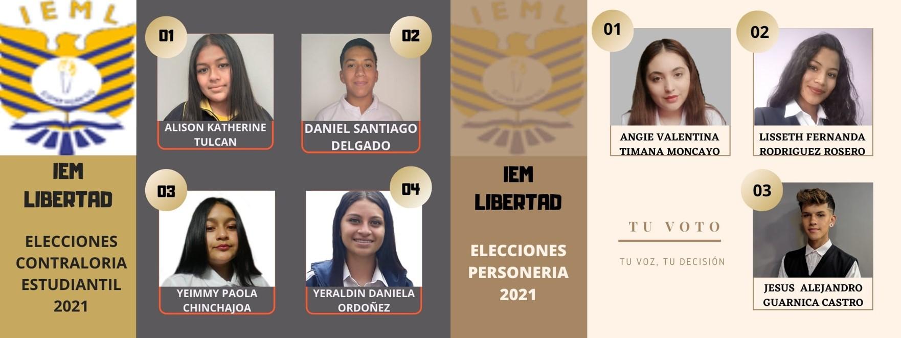 Candidatos Jornada de la Mañana Personería y Contraloría 2021